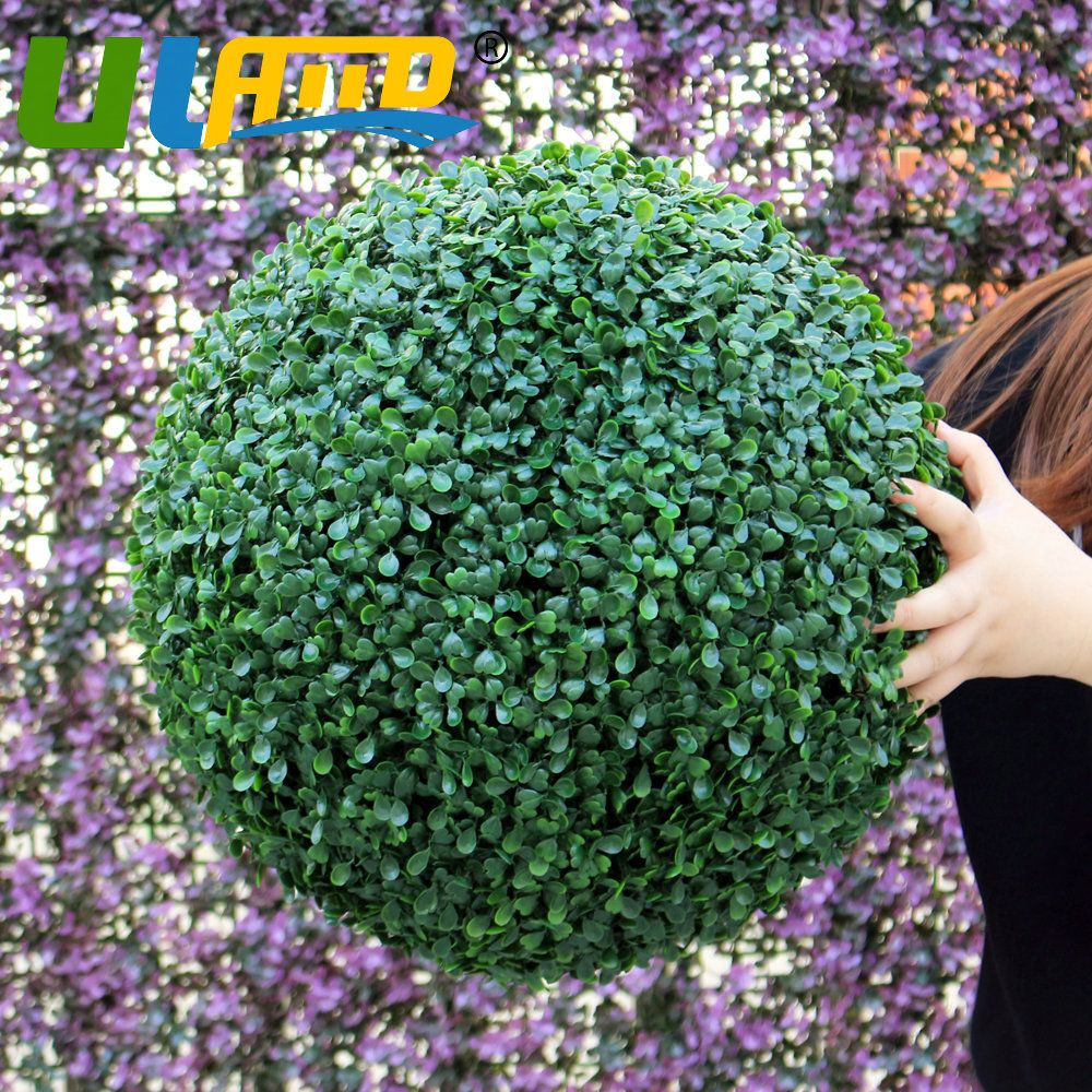 ULAND Artificial Boxwood Ball Kissing Topiary Plant Green Hanging ...