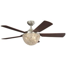 Harbor Breeze Parklake 52 In Brushed Nickel Crystal Accent Downrod Mount Indoor Ceiling Fan With Light Kit And Remote