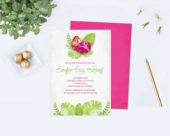 Easter Egg Hunt Invitation Template Editable Text Acrobat Reader