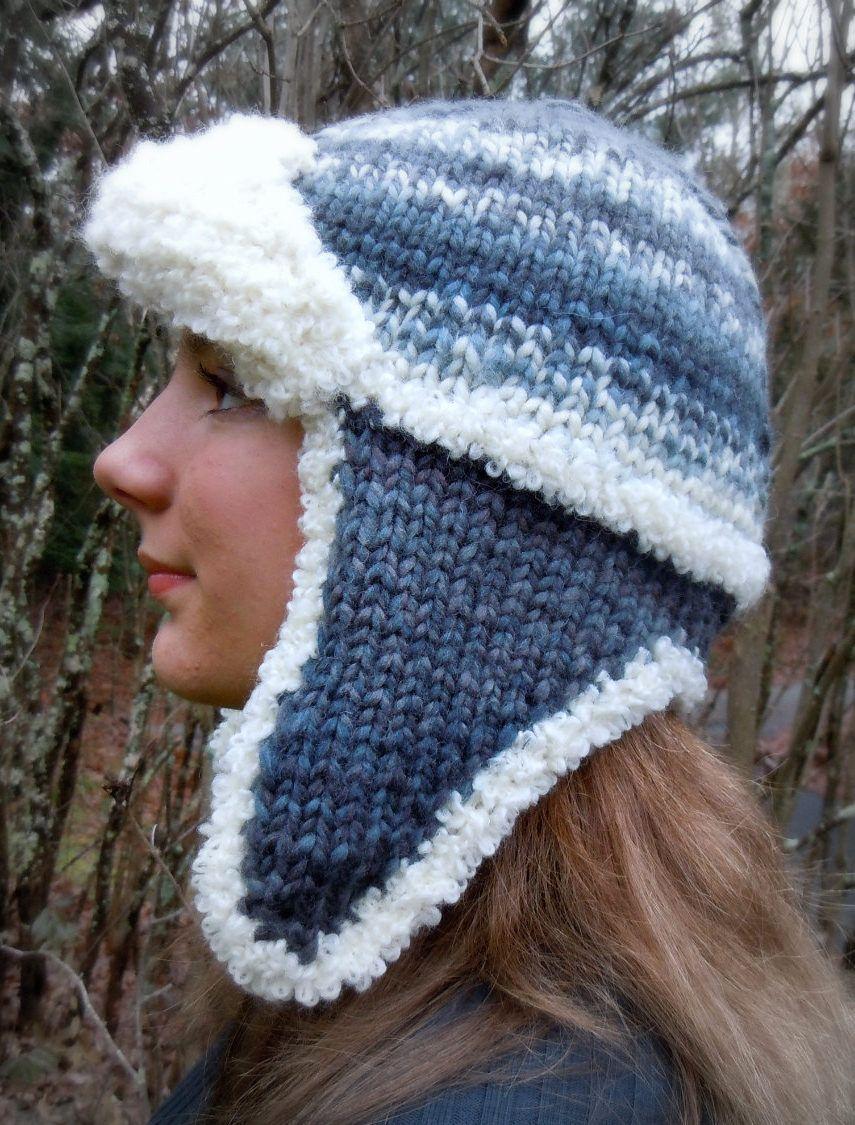 Knitting Pattern for Samedan Hat - Cozy trapper style earflap hat is ...