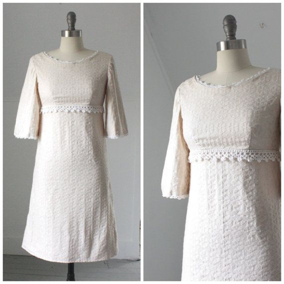 1960's embroidered cream shift dress by SchoolofVintage on Etsy