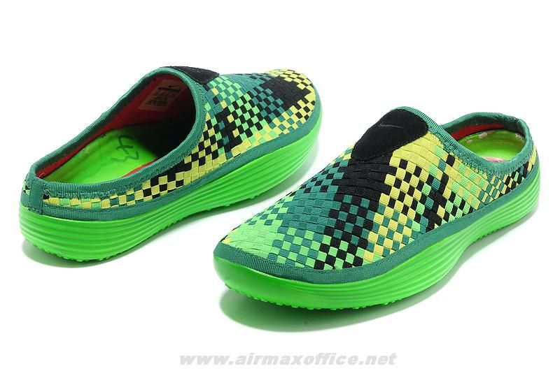 the latest c6e29 5928f Mule Premium Sport Slippers Nike Solarsoft Woven Green Yellow Bl