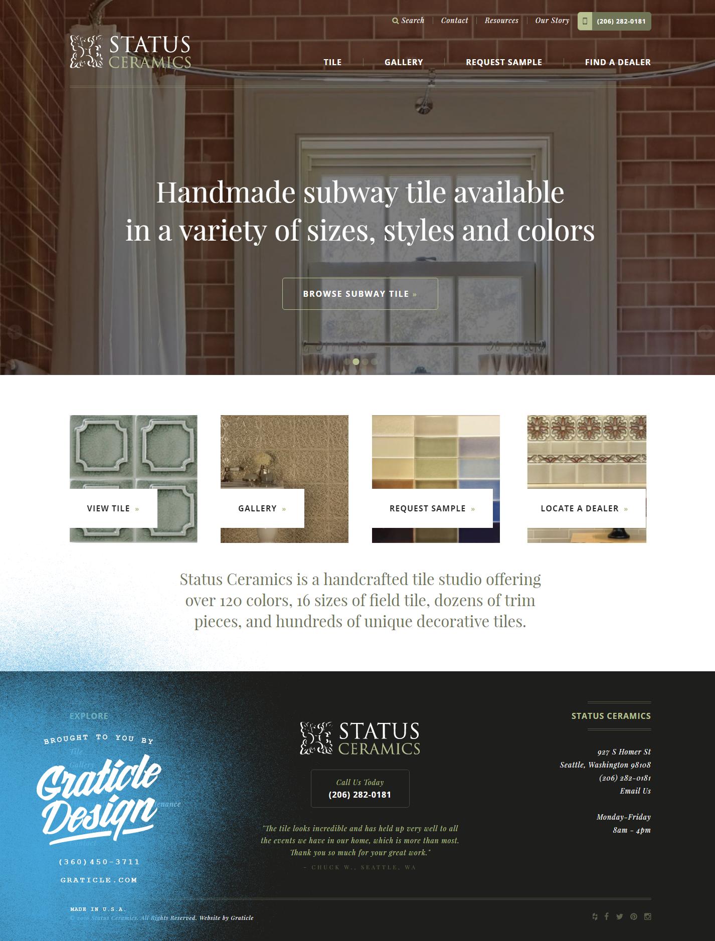 Status Ceramics Graticle Design Longview Washington Design Handmade Subway Tile Handcrafted Tile