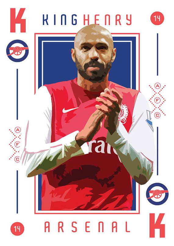 Thierry Henry King of Arsenal Print door KieranCarrollDesign