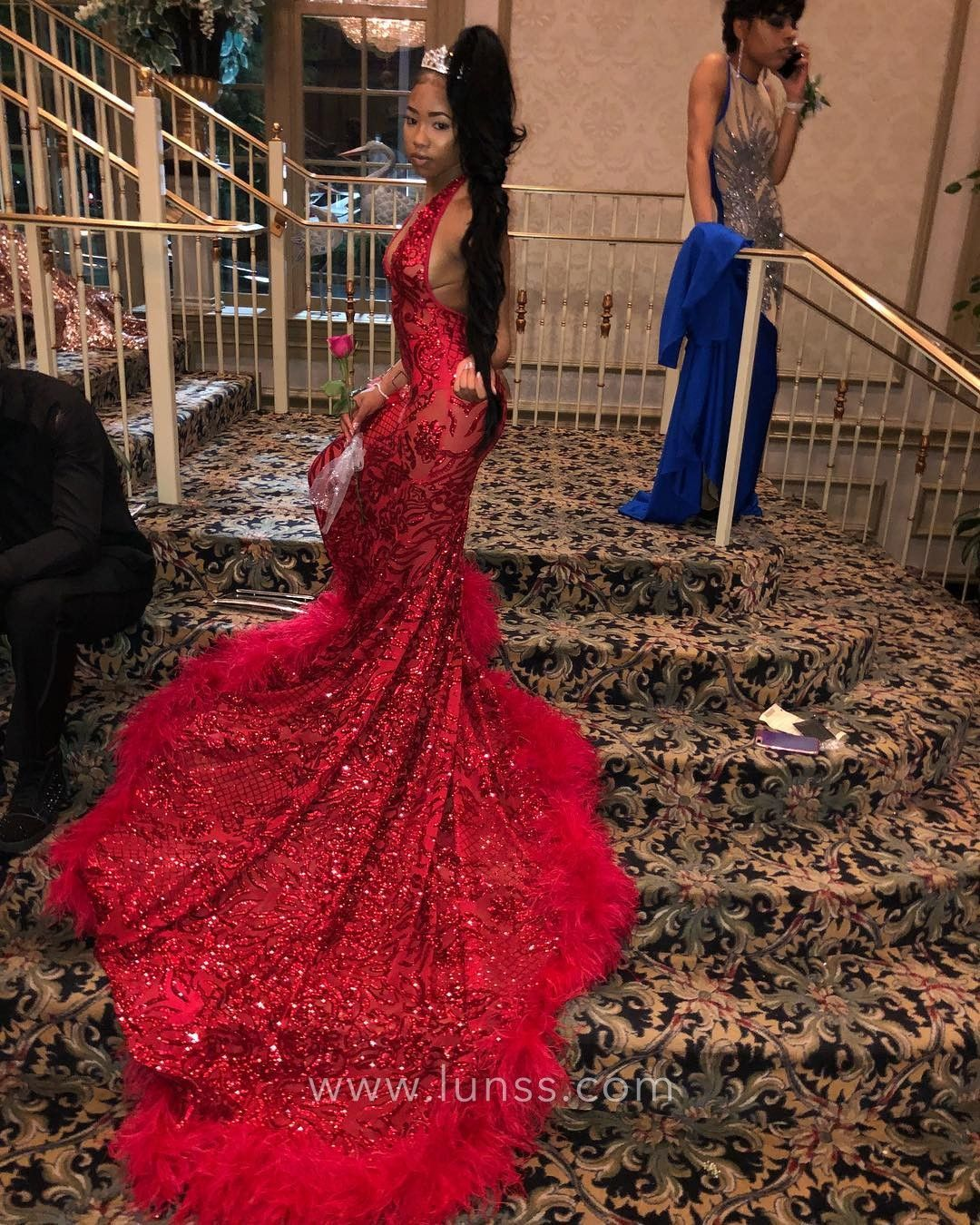 Gorgeous red sequin African American floor length long mermaid prom dress  with feather hemline long train 7de4fc3810e4