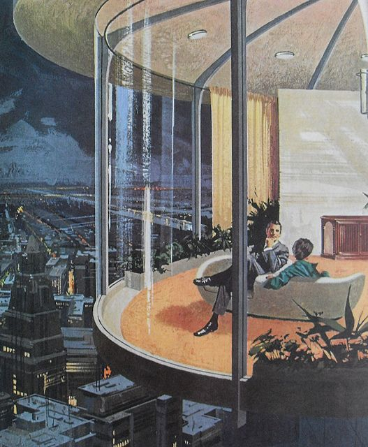 1960s Futuristic Home Interior Architecture Modern Atomic Los Angeles Advertisement Vintage Illustration By Christian Montone