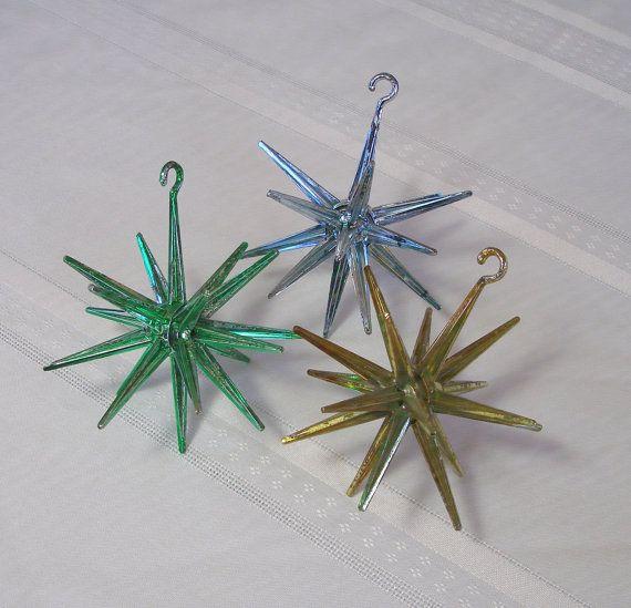 retro 1950s sputnik christmas ornaments set of 3 vintage plastic starburst decorations