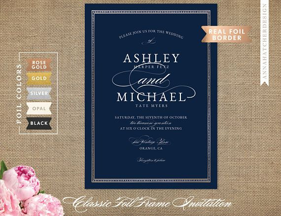 Navy Blue And Gold Wedding Invitations: Rose Gold Wedding Invitation, Navy And Rose Gold Foil