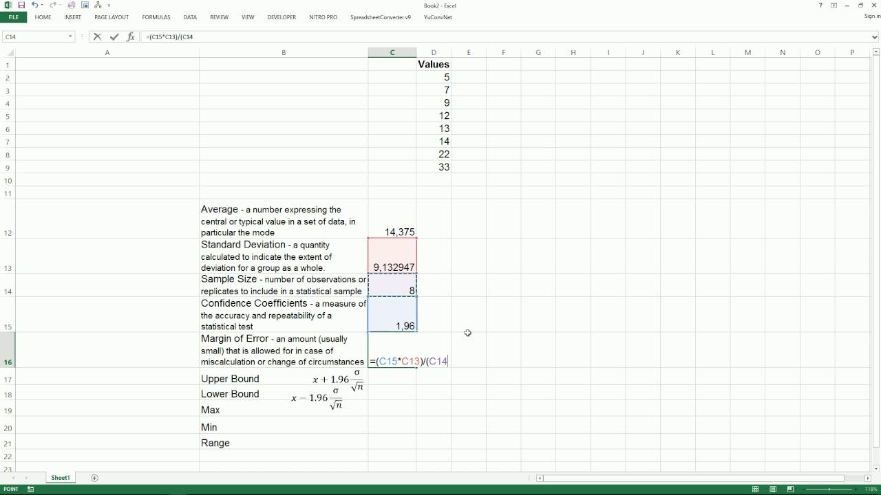 [microsoft Excel] How To Calculate Confidence Interval In Excel