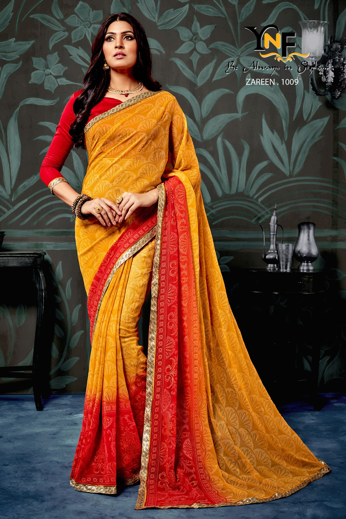 c876671228 Red Chiffon, Chiffon Saree, Print Chiffon, New Indian Dresses, Red Lehenga,