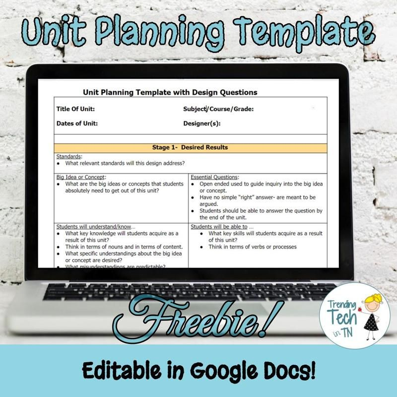 Unit Planning Template Freebie And Editable In Google Docs