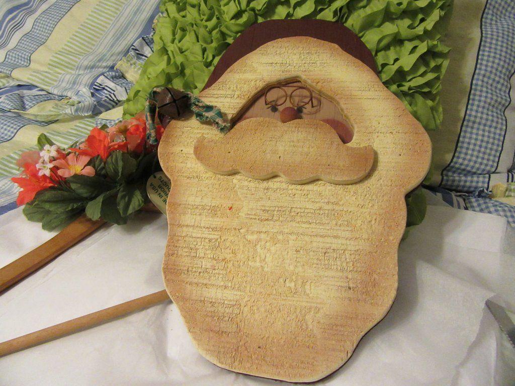 Santa Face Vintage Hand Painted Wooden Primitive or Country Santa ...