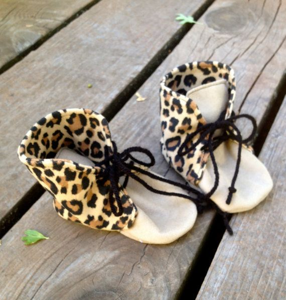 Spunky Chic Cheetah Print and Suede Baby Booties by WithinThePines
