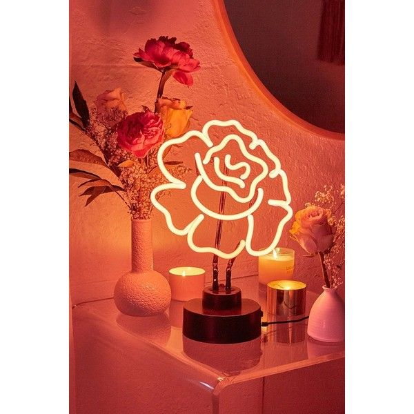 Cabbage Rose Neon Sign Table Lamp (£57) ❤ Liked On Polyvore Featuring Home