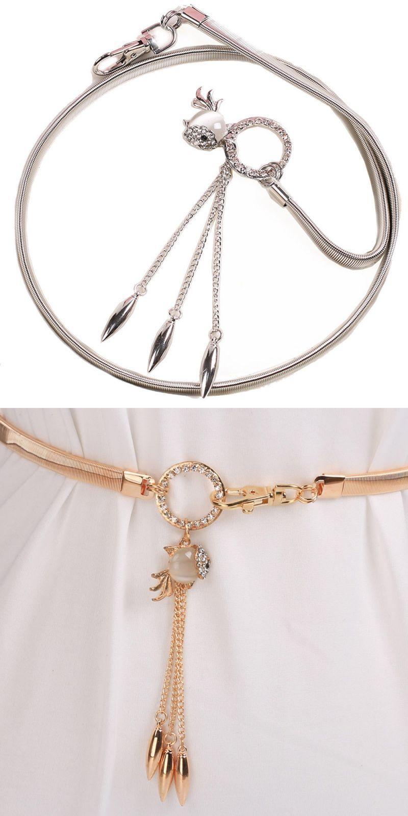 b7e9ee8daa4 Women's lady fashion goldfish pendant metal chain style belt body ...