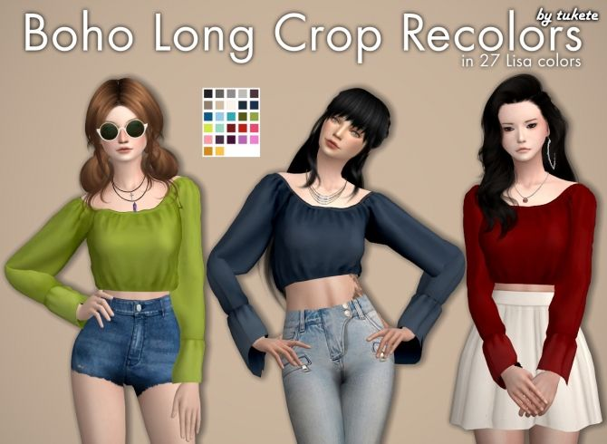 Boho Long Crop Recolors at Tukete via Sims 4 Updates  Check more at http://sims4updates.net/clothing/boho-long-crop-recolors-at-tukete/