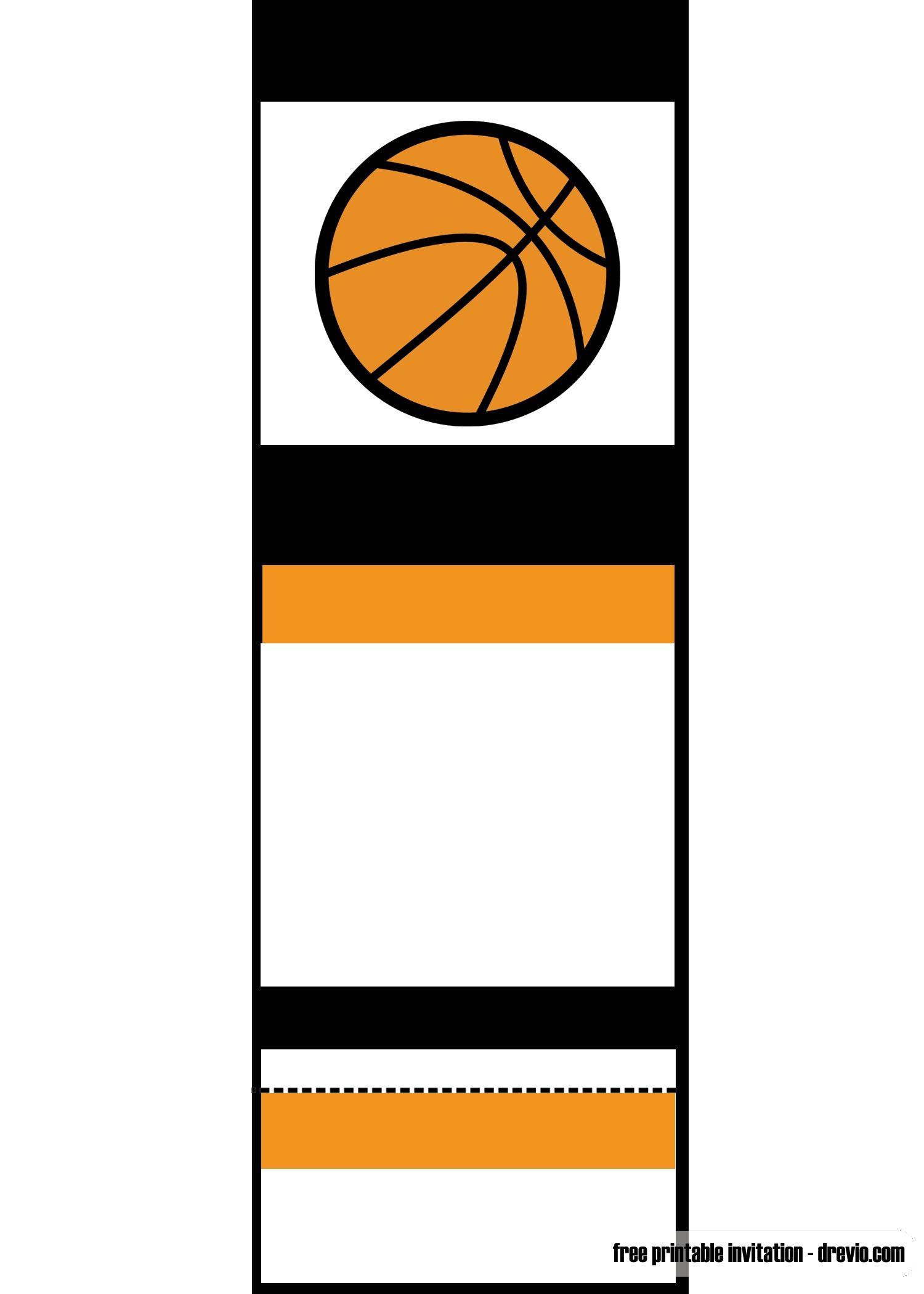 Free Printable Basketball Ticket Invitation Template