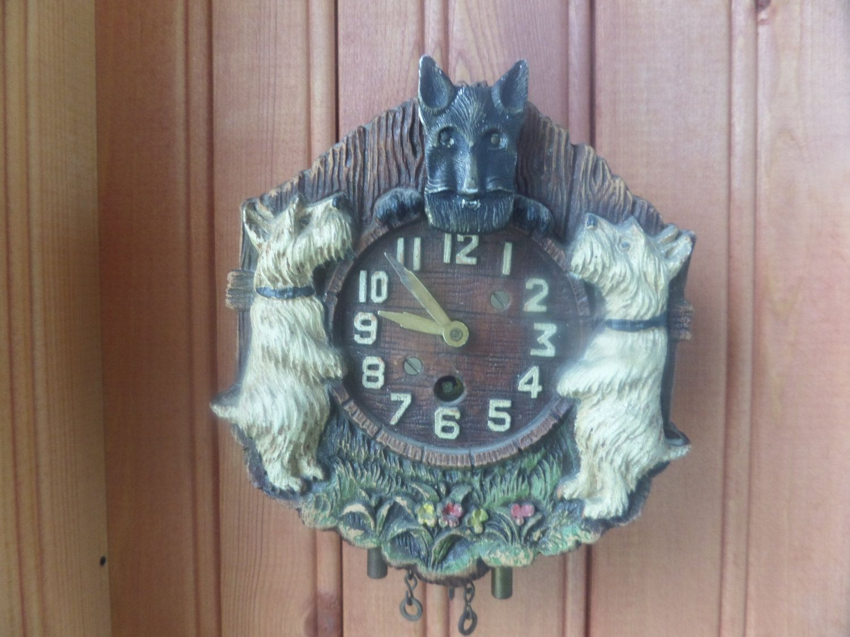 Antique Lux Clock Scottie Animated Pendulum Clock Vintage Animal Figurine Dog Westie Schnauzer Terrier Pup Vintage Clock Cuckoo Clock How To Make Wall Clock