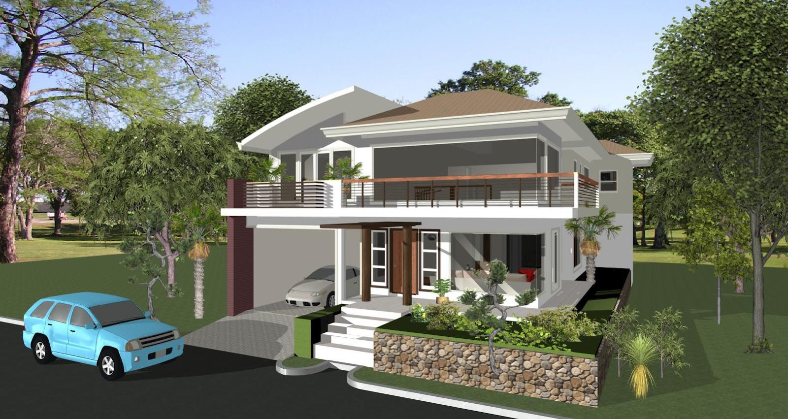 ... House Plan Balcony Black Paint Iron Open Plan Garage Elevated Steps  Entrance Front Garage Driveway: House Building Plans: Make Your Own Dream  House