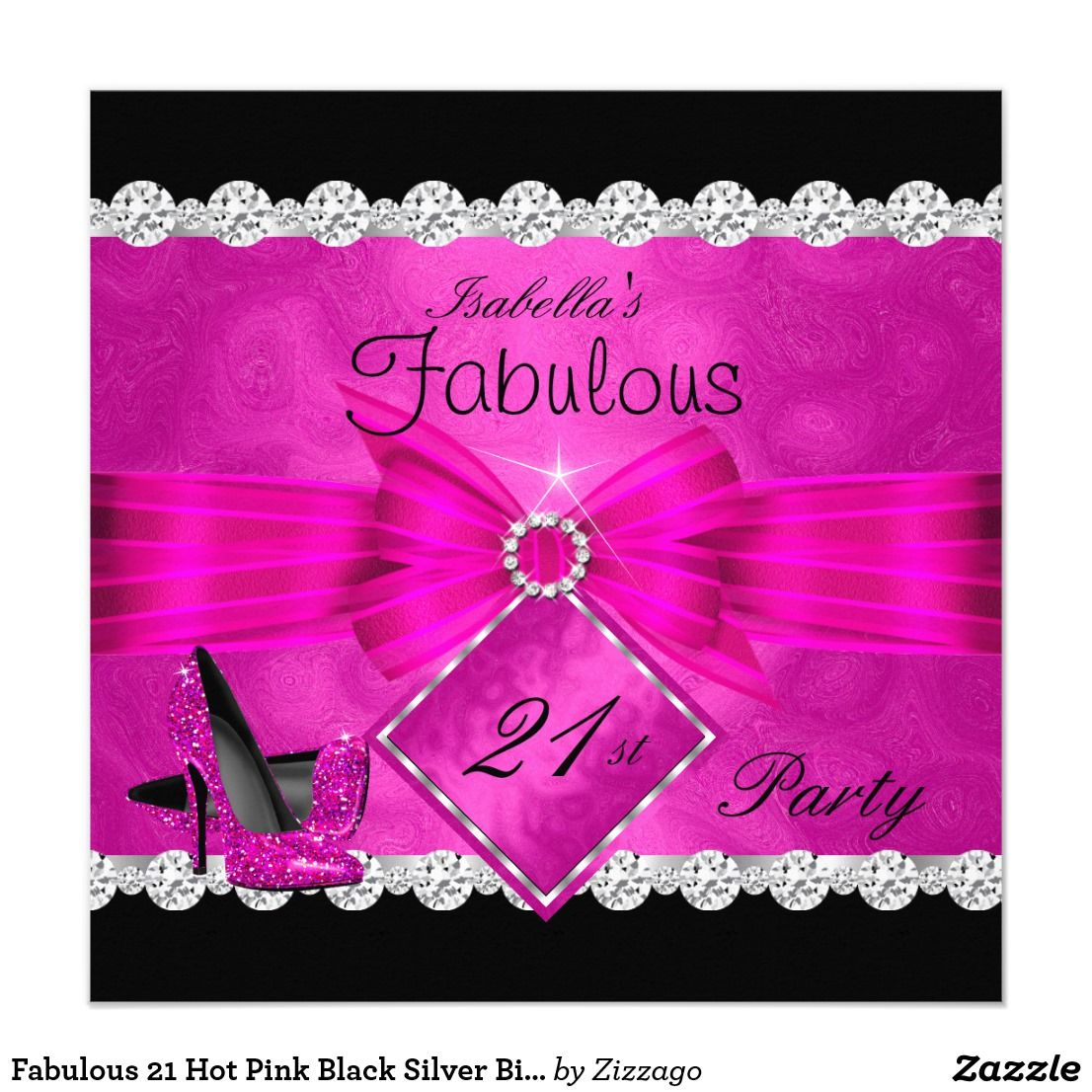 Fabulous 21 Hot Pink Black Silver Birthday Party 2