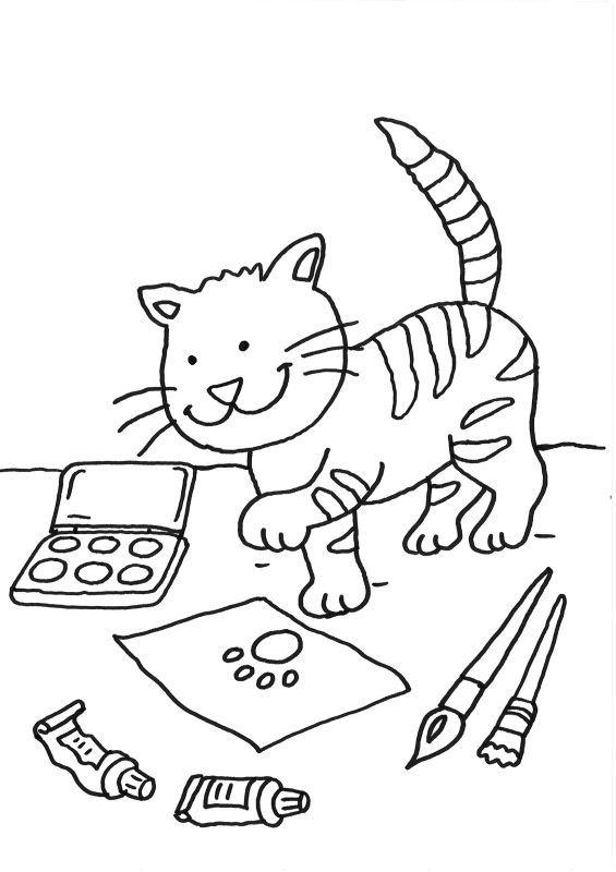 ausmalbild katzen katze auf dem schreibtisch ausmalen