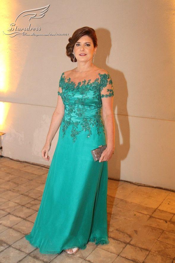 f68afc1b3dd73 ... madre de la novia. 2015 -Sheath Scoop Short Sleeve-Brides-Mother-Dresses -For-Weddings-Vestido-Mae-da-Noiva-Longo-Green-Appliqued Mother Gown