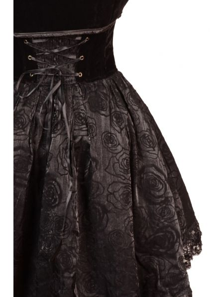 Black Sweetheart Rose Printed Pattern High-Low Gothic Party Dress with Short Jacket