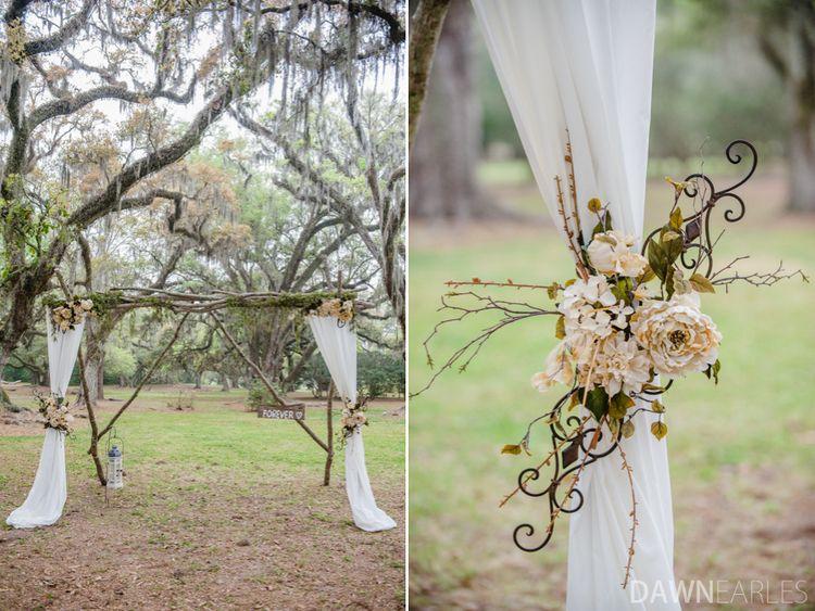 DIY wedding alter for forest wedding