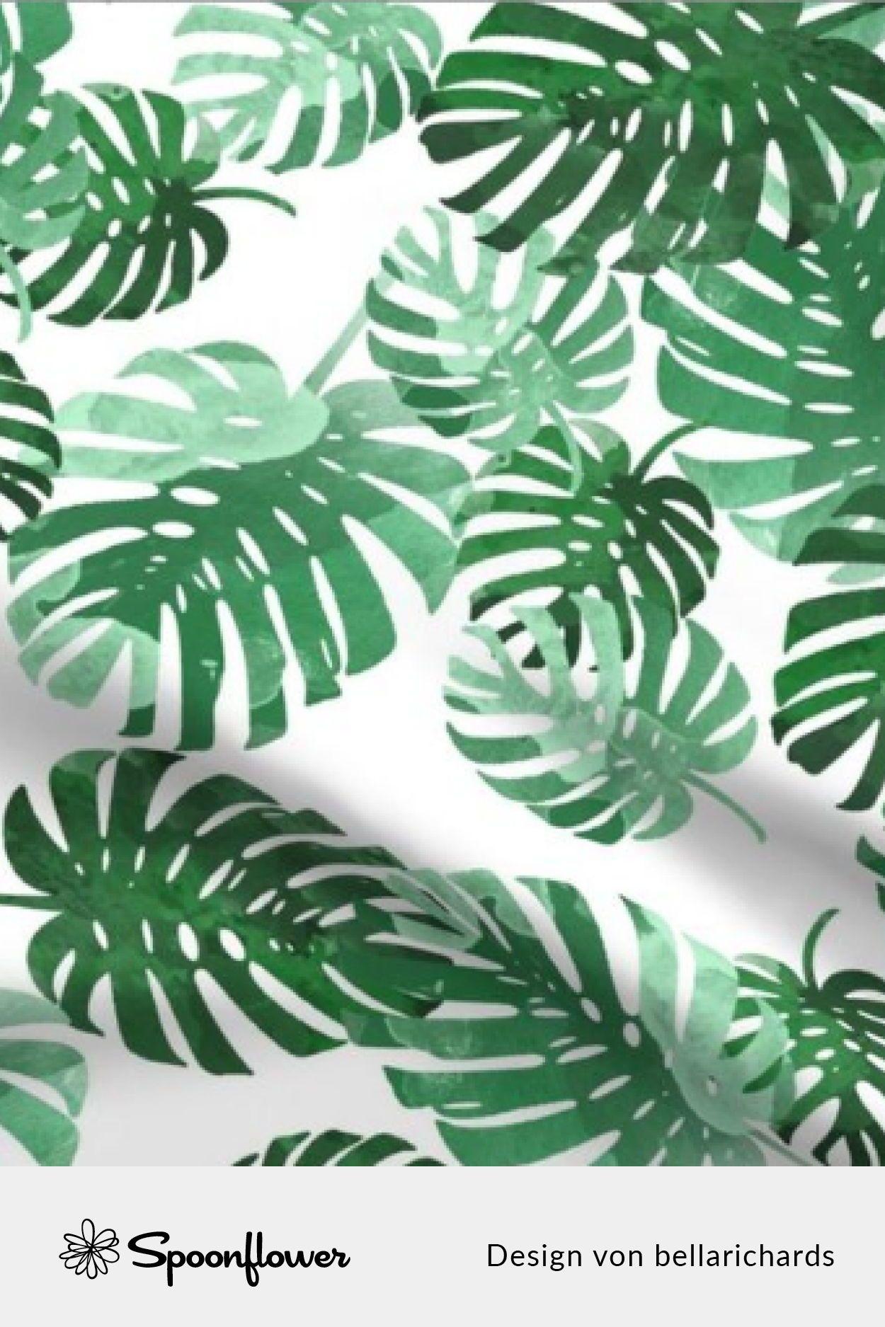 Stoff Meterware Strand Grun Sommer Tropisch Smaragdgrun Palme
