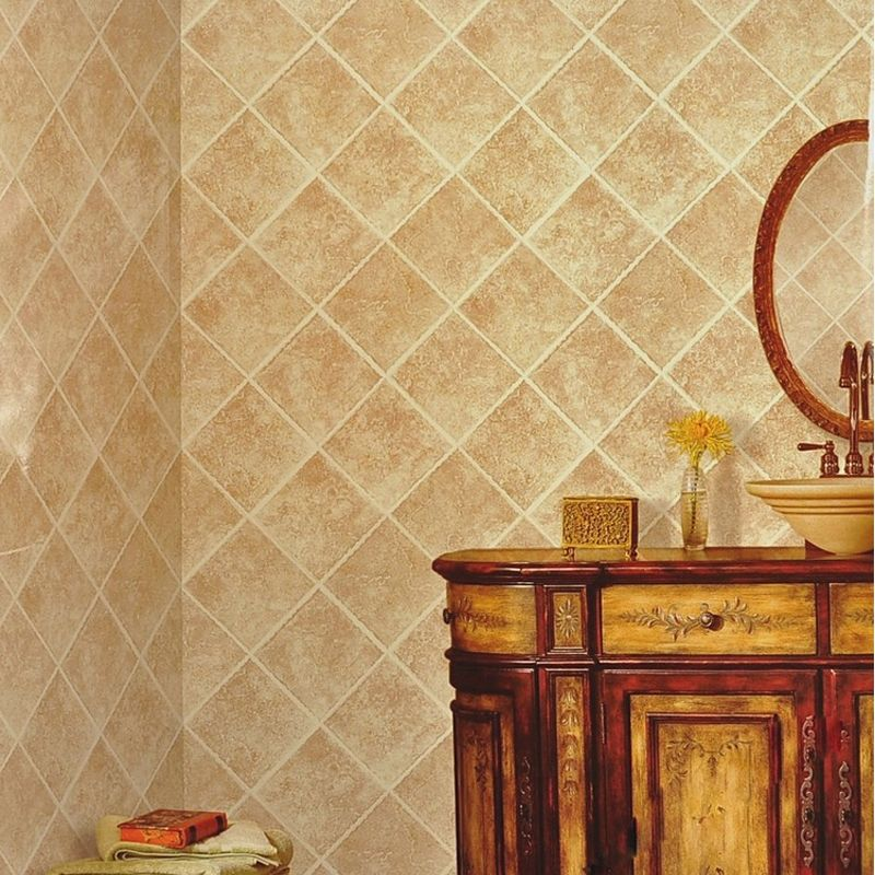 PVC Waterproof Imitation Marble Tile Photo Wallpaper Kitchen Living ...