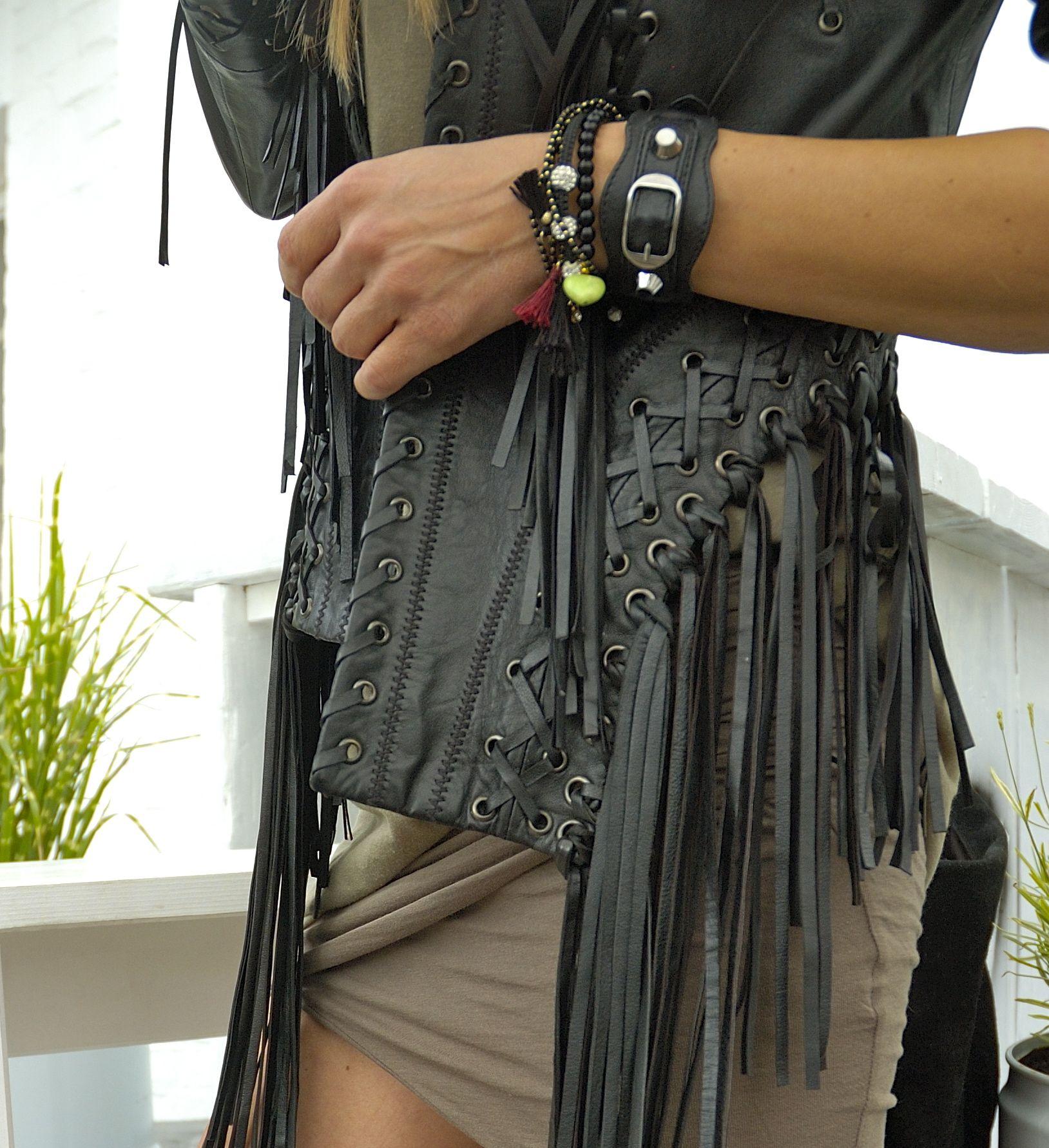 Roberto Cavalli leather jacket / James Perse skirt  see now on www.blondwalk.com