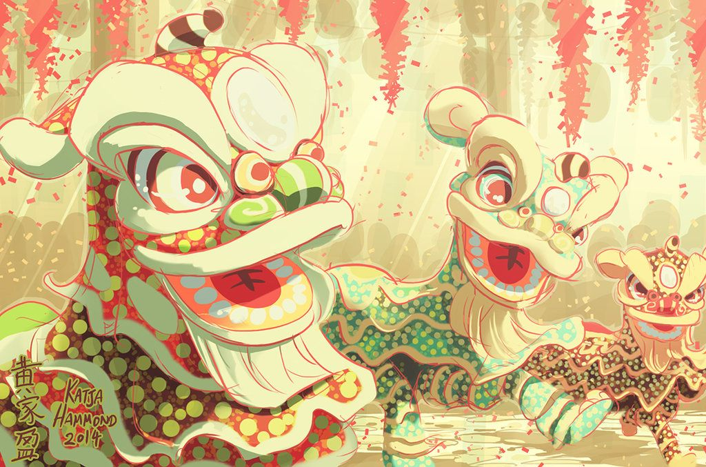 Dancing Lion Parade by Jackoburra Dancing drawings