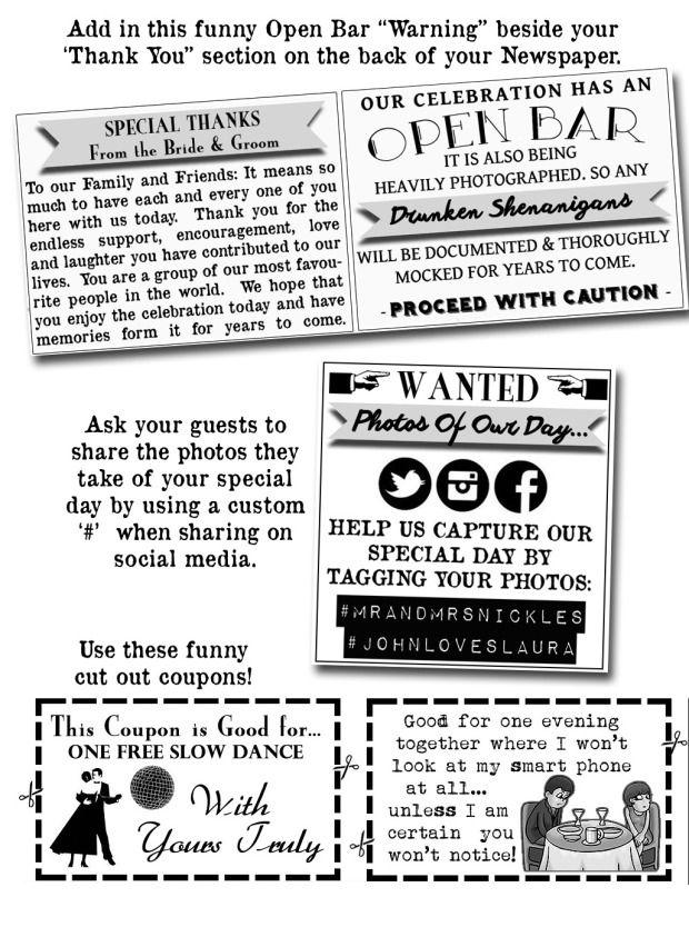 Samples  Inspiration Pinterest Programming, Wedding newspaper
