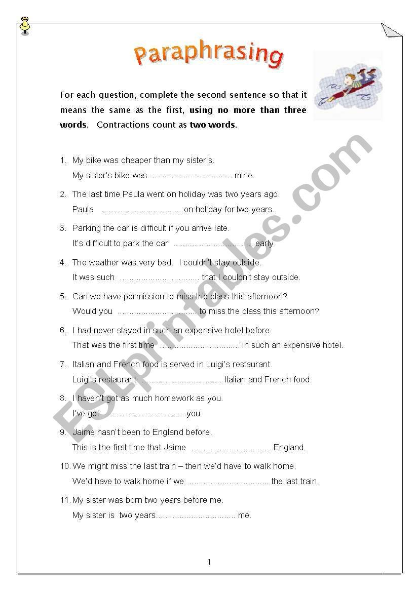 50 Sentence To Paraphrase Ideal For Pet Student Or A General Revision Of Tense Vocabulary And Structure 5th Grade Worksheet School Worksheets You Like It Full Summary In Hindi Explanation Pdf