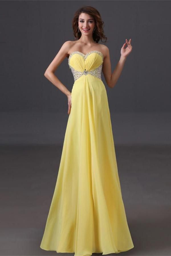 Outlet Distinct Prom Dresses Yellow Cheap Prom Dresses Prom