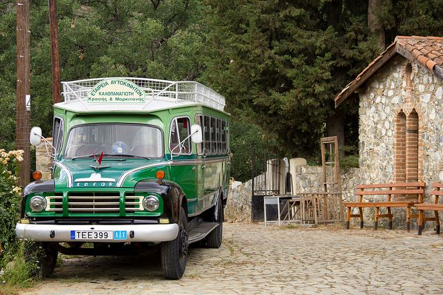 Village Bus For Vintage Wedding In Cyprus