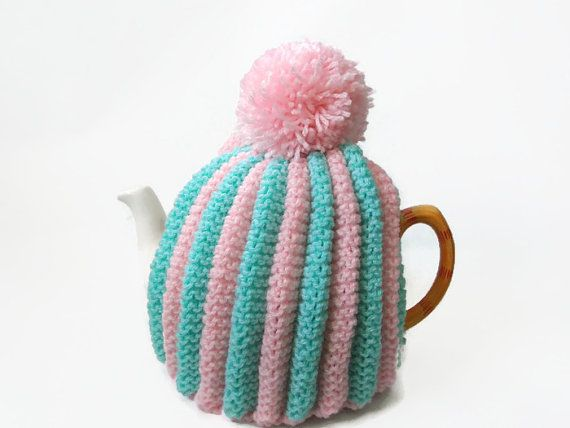 tea pot  cozy hand knitted  cosie mint and pink wool by TWINKKNITS