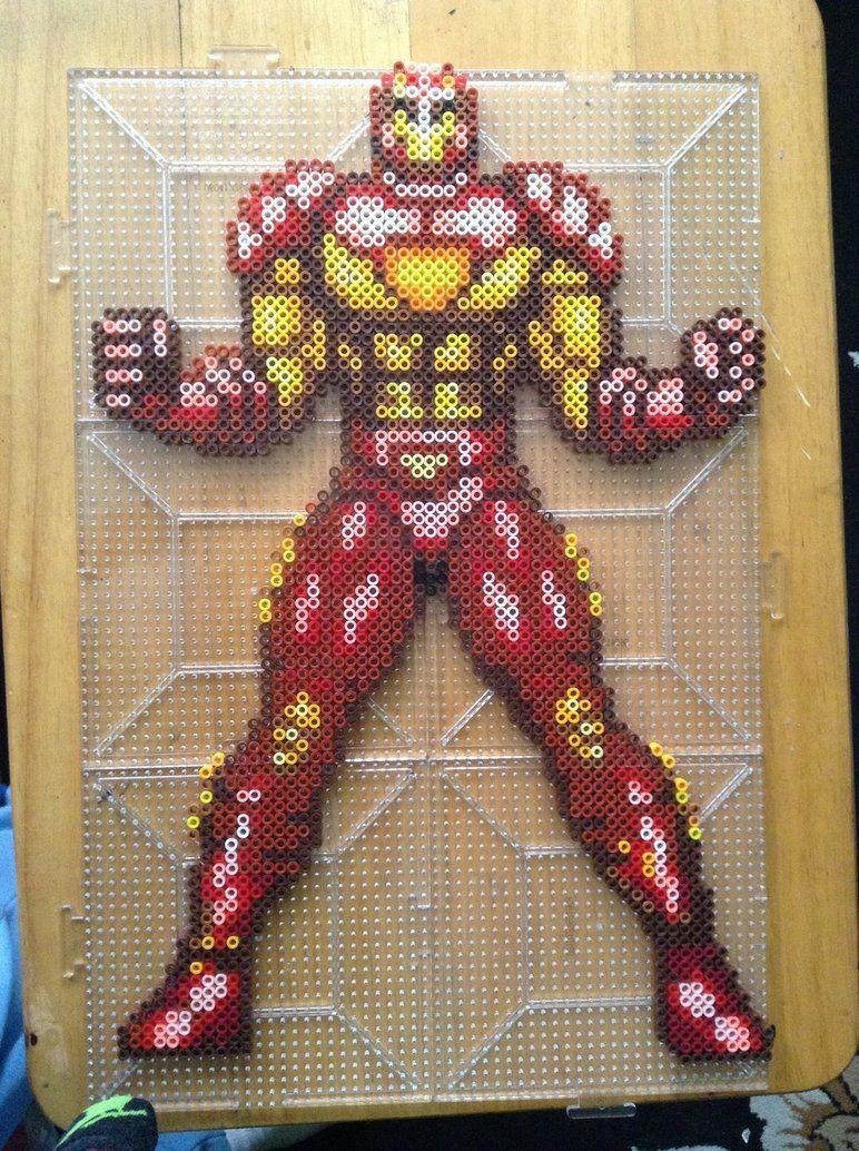 Iron man sprite by mrxnc hama beads pinterest perler beads
