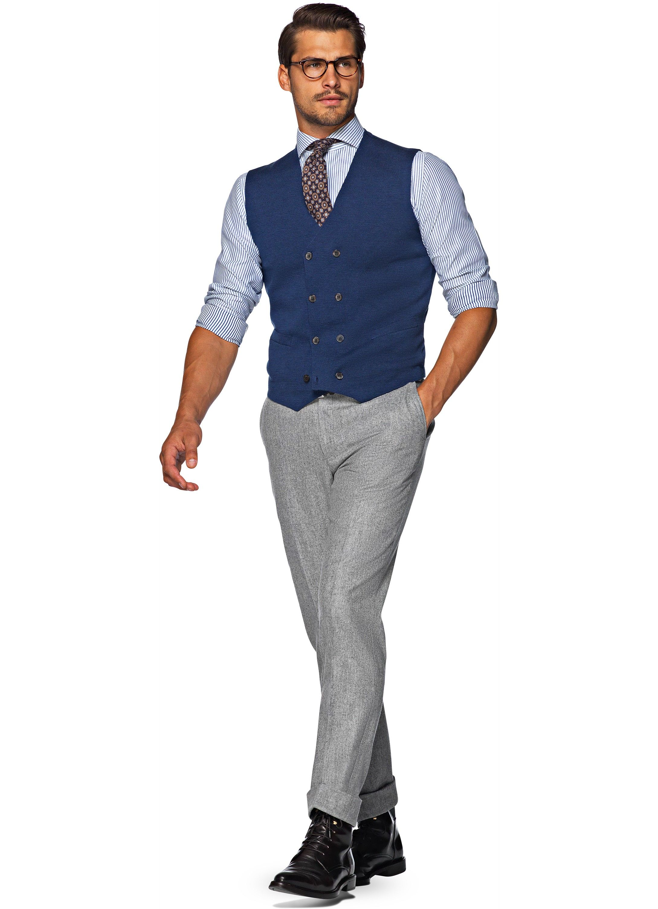 Welp Knitted Waistcoat Blu Sw564   Suitsupply Online Store - Credo NH-41