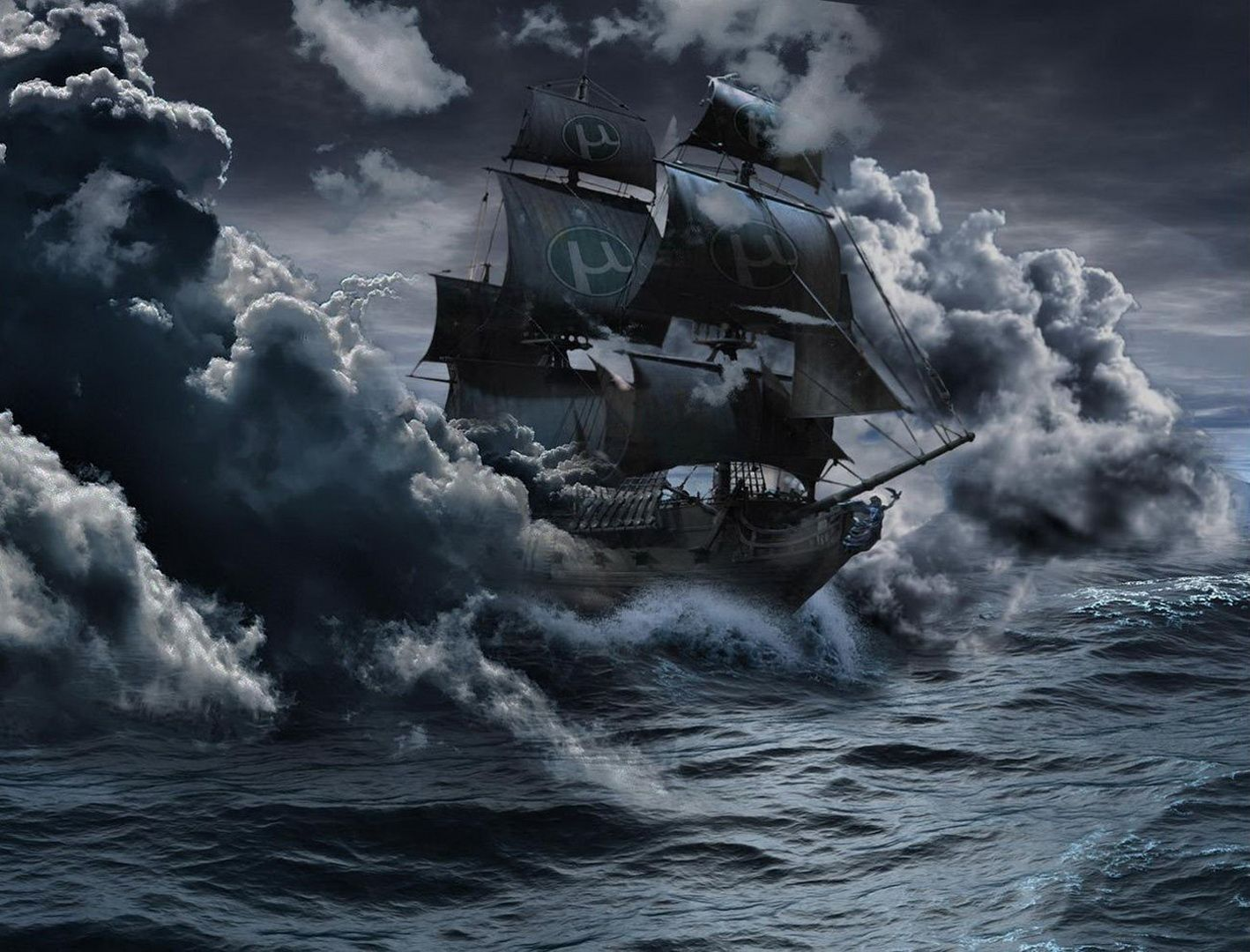 Fantasy ship cliff jolly roger pirate ship rock lightning wallpaper - Pirate Ship