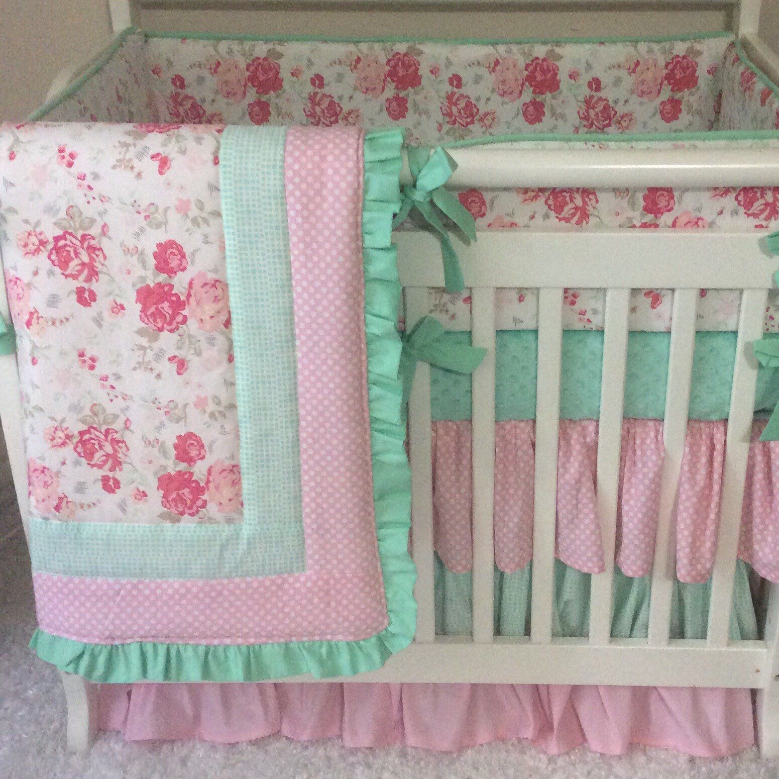 Mini Crib Bedding Pink And Mint Floral Ruffled Baby Girl