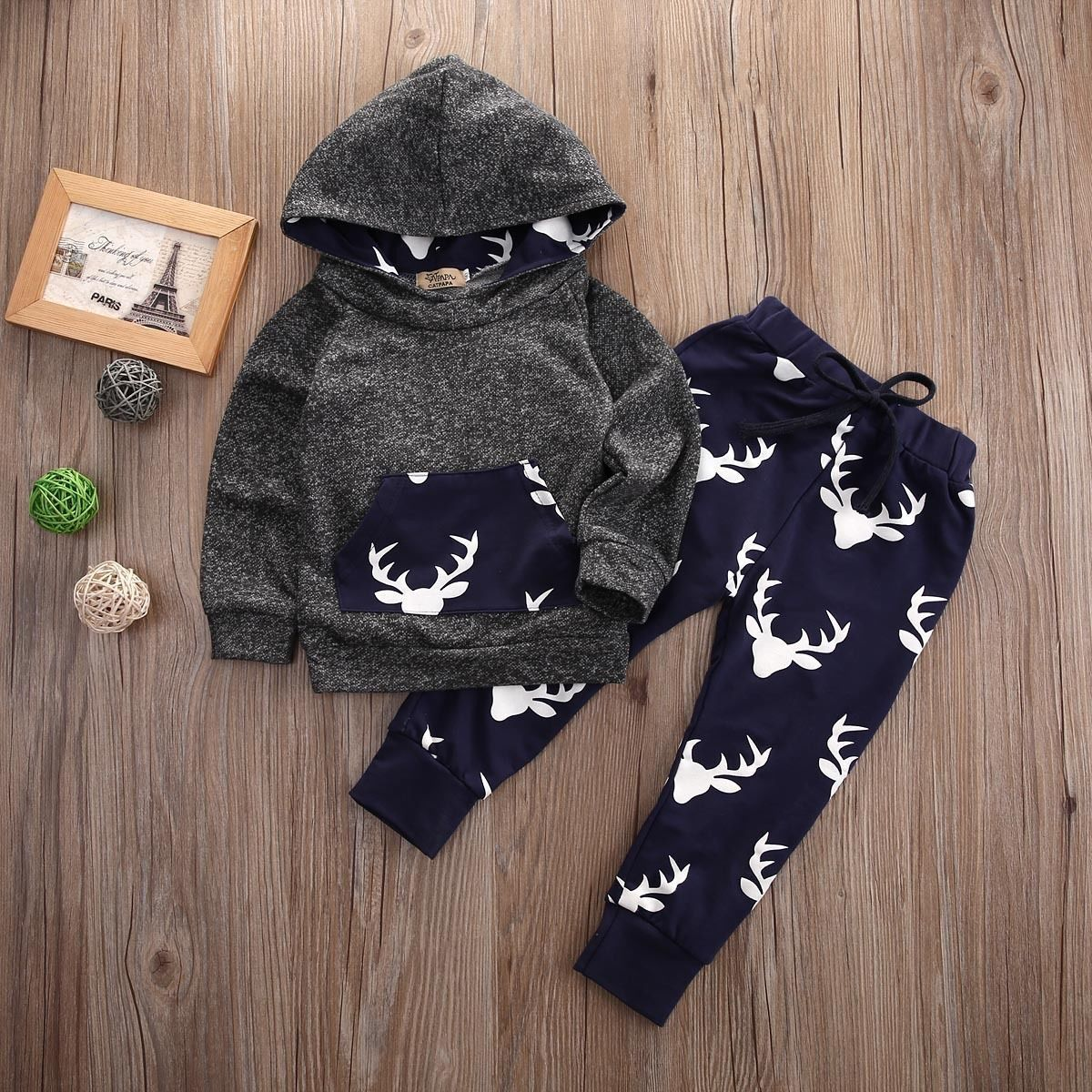 3pcs Toddler Infant Newborn Baby Boy Girl T-shirt Tops+Pants+Hats Outfit Set lot
