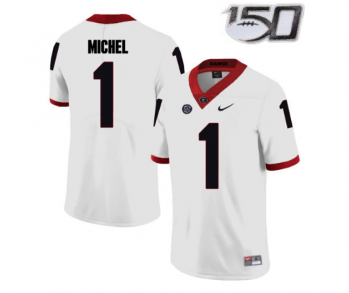 Youth Georgia Bulldogs #1 Sony Michel Jersey Black With 150th