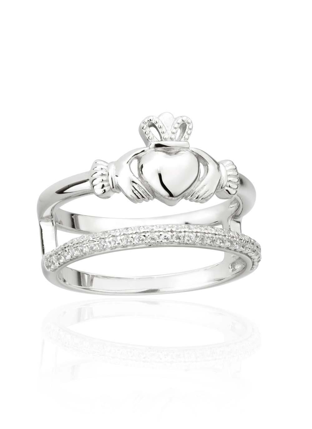 Double Band Claddagh Ring With Cubic Zirconia This Stunning Double Band Claddagh Ring Features A Claddagh Claddagh Jewelry Celtic Wedding Rings Irish Jewelry