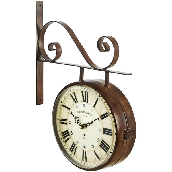 bronze large brown double sided outdoor station wall clock