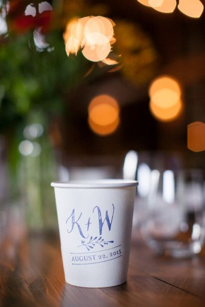 Custom cocktail cups - white cardboard cups with bride + groom's monogram and wedding date stamped in blue {Nadra Photography}