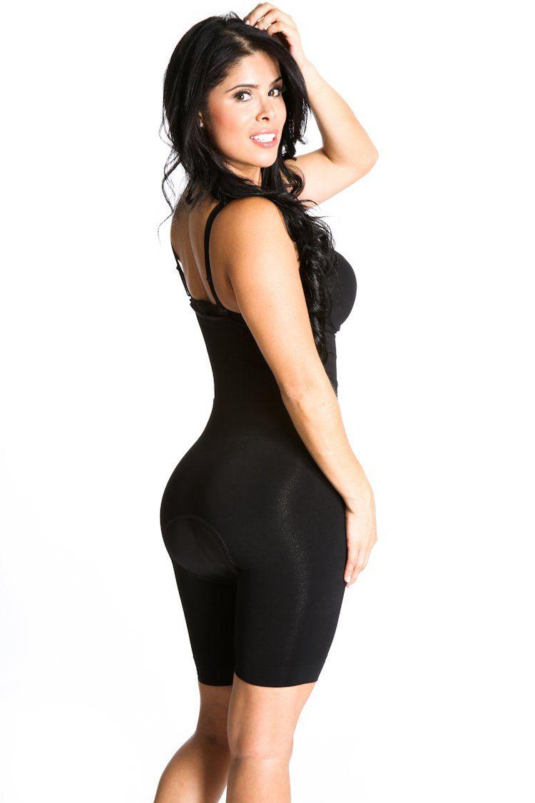 e72e90438d75 SHAPEX Slimming Mid Thigh Full Strappy Bodysuit Leg Tummy Hip Control  Modren Bodyshaper Black S M