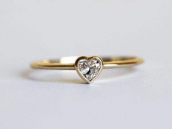 Herz Diamanten Ring Herz Verlobungsring Herz Rin Von Capucinne Auf