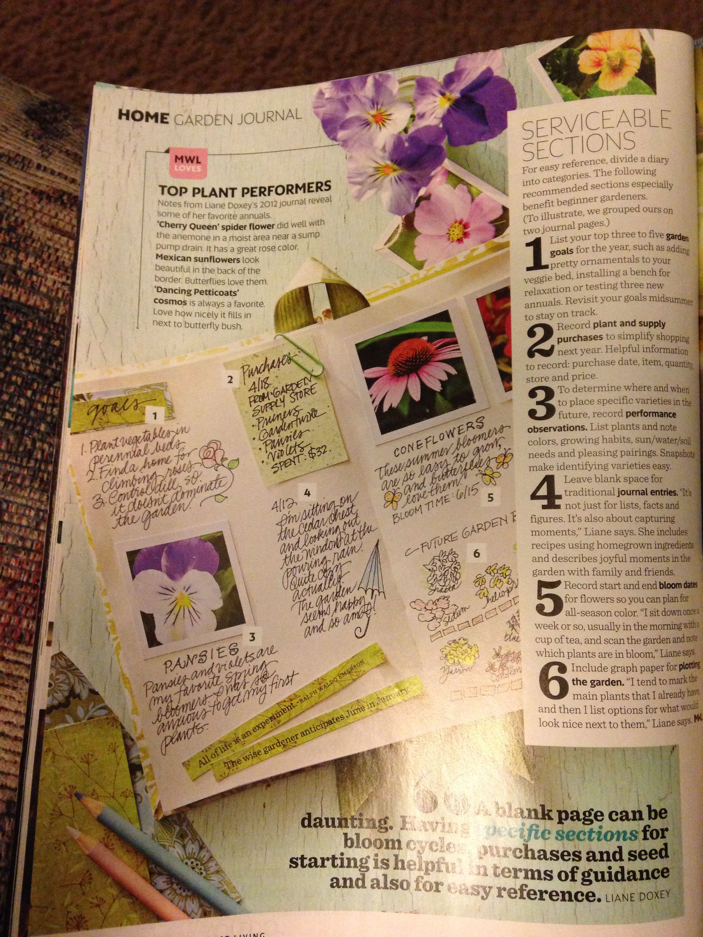 Garden journal idea copied from Midwest Living magazine. I think I ...