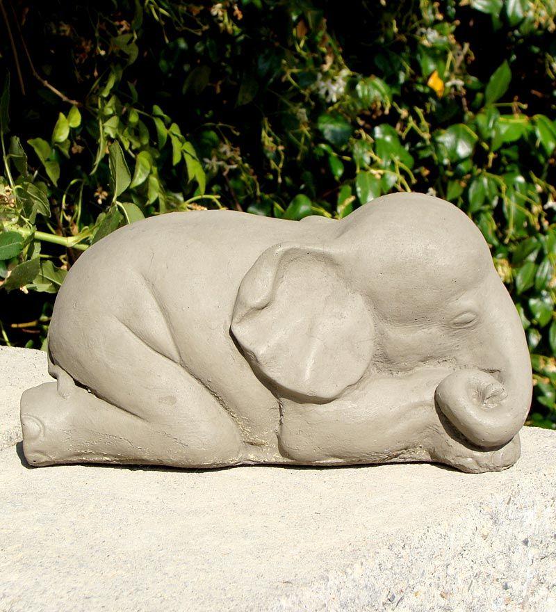 Handcrafted Stone Sleeping Baby Elephant Garden Sculpture
